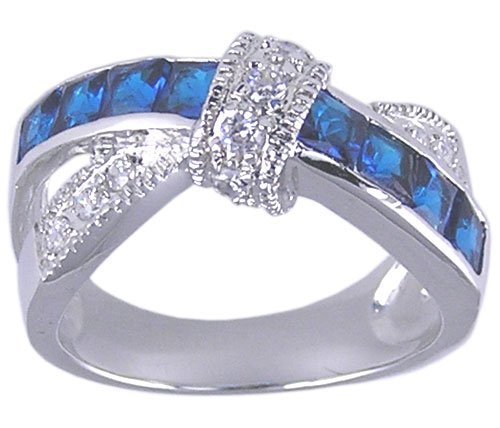 SAPPHIRE BLUE CUBIC ZIRCONIA CZ RING SIZE 7 8 9 10