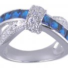 SAPPHIRE BLUE CUBIC ZIRCONIA CZ RING SIZE 7 8 9 10