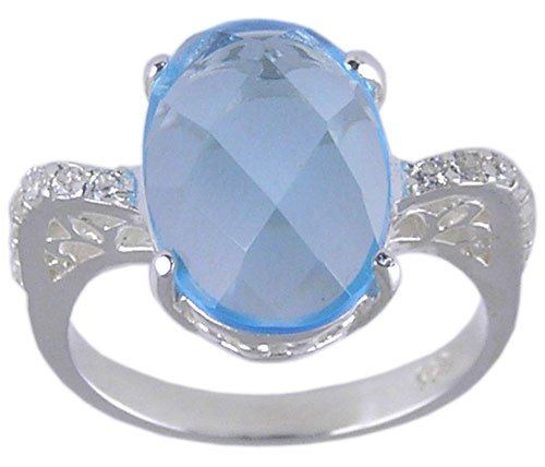 BLUE CUBIC ZIRCONIA CZ SILVER RING SIZE 5 6 7 8 or 9