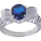 BLUE CUBIC ZIRCONIA STERLING SILVER RING SIZE 7 or 10