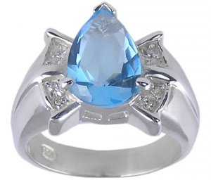 UE PEAR CUBIC ZIRCONIA SILVER RING SIZE 6 7 8 9 or 10