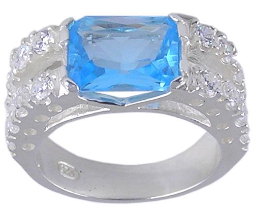 BLUE CUBIC ZIRCONIA SILVER RING SIZE 5 6 7 8 9 or 10