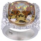 CHAMPAGNE CUBIC ZIRCONIA CZ 925 SILVER RING SIZE 5