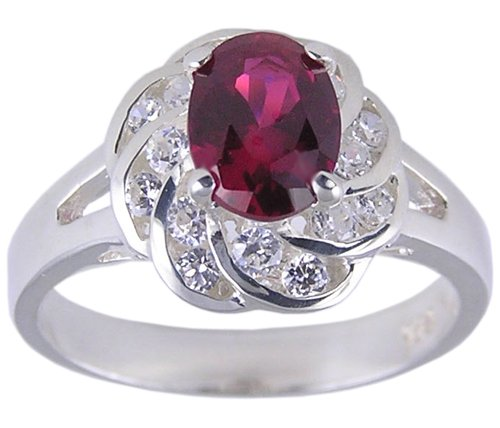 RUBY RED CUBIC ZIRCONIA CZ SILVER RING SIZE 7 or 8