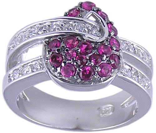 RUBY RED CUBIC ZIRCONIA CZ SILVER RING SIZE 6 7 8 or 9