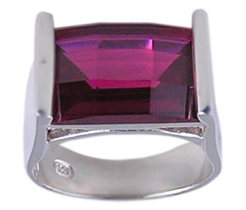 RUBY RED CUBIC ZIRCONIA CZ 925 SILVER RING SIZE 5