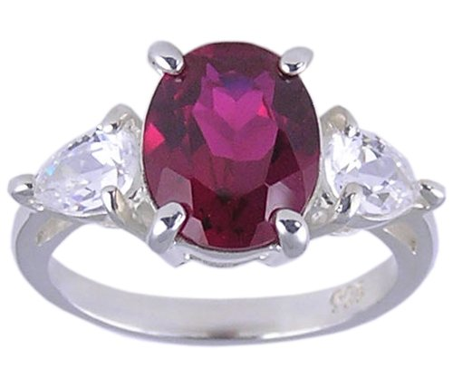 RUBY RED CUBIC ZIRCONIA CZ 925 SILVER RING SIZE 9 or 10