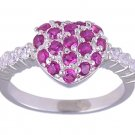 RUBY RED CUBIC ZIRCONIA SILVER SILVER RING SIZE 6 or 7