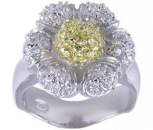 YELLOW CUBIC ZIRCONIA CZ RING SIZE 5 6 or 7 JEWELRY