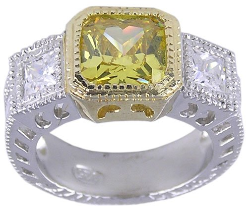 YELLOW CUBIC ZIRCONIA CZ SILVER 2 TONE RING SIZE 8