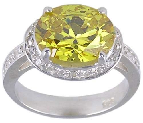 YELLOW CUBIC ZIRCONIA CZ STERLING SILVER RING SIZE 9
