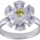 YELLOW CUBIC ZIRCONIA CZ SILVER RING SIZE 6 FLOWER