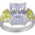 YELLOW CUBIC ZIRCONIA STERLING SILVER RING SIZE 7 or 8