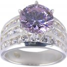 PURPLE CUBIC ZIRCONIA CZ SILVER RING SIZE 5 6 7 8 or 9