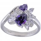 PURPLE CUBIC ZIRCONIA STERLING SILVER RING SIZE 7 or 8