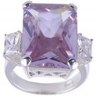 PURPLE CUBIC ZIRCONIA STERLING SILVER RING SIZE 7