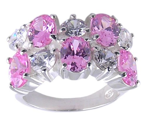 PINK CUBIC ZIRCONIA CZ 925 SILVER RING SIZE 6 7 8 or 9