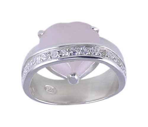 PINK CUBIC ZIRCONIA CZ 925 SILVER RING SIZE 5 6 7 or 8
