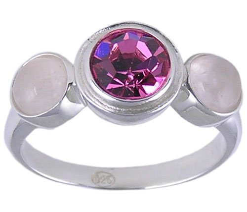 PINK SWISS CRYSTAL RING SILVER SIZE 5 6 7 or 8 JEWELRY