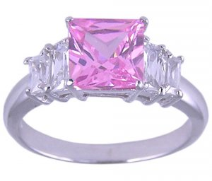 PINK CUBIC ZIRCONIA STERLING SILVER RING SIZE 5 6 or 7