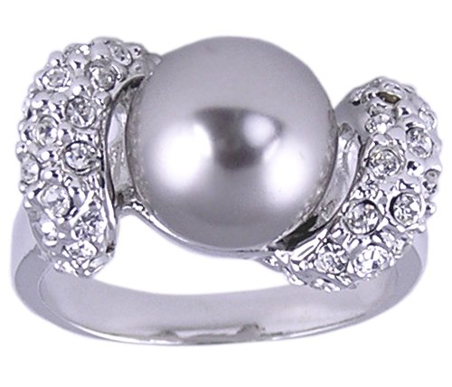 CZ & SYNTHETIC PEARL RING SIZE 7 or 9 FASHION JEWELRY