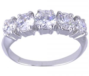 CUBIC ZIRCONIA CZ STERLING SILVER RING SIZE 5 or 6
