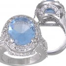 BLUE CUBIC ZIRCONIA CZ RING SIZE 7 FASHION JEWELRY