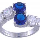 SAPPHIRE BLUE CUBIC ZIRCONIA CZ .925 SILVER RING SIZE 6