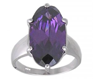AMETHYST CUBIC ZIRCONIA SILVER RING SIZE 5 6 7 9 or 10