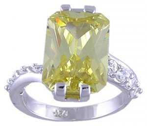 CANARY CUBIC ZIRCONIA CZ SILVER RING SIZE 5 9 or 10