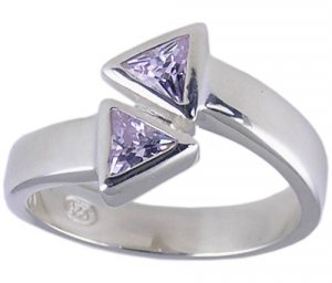 PURPLE CUBIC ZIRCONIA CZ SILVER RING SIZE 5 6 7 or 8