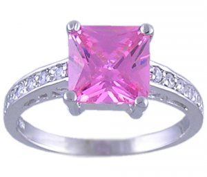 PINK CUBIC ZIRCONIA CZ SILVER RING SIZE 7 or 10