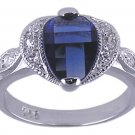 SAPPHIRE BLUE CUBIC ZIRCONIA SILVER RING SIZE 7 or 8