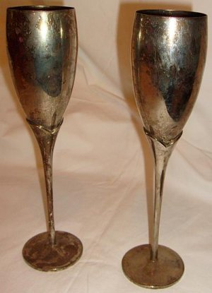 Silverplated Champagne Flutes! AWESOME!! A+