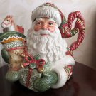 Fitz and Floyd Winter Holiday Santa Teapot and Lid New In Box Unused