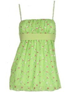 Green Floral Embroidered Tie Back Top Medium