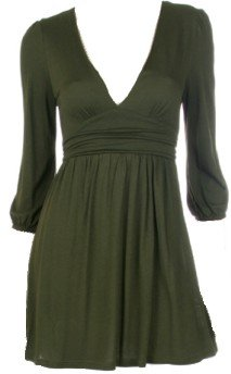 Olive Deep V-Neck 3/4 Sleeves Tie Back Top Small