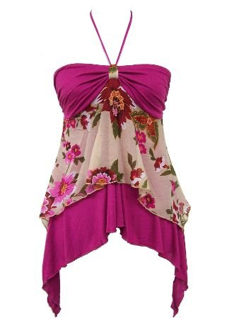Fuchsia Chiffon Solid Floral Print Layered Halter Top Large