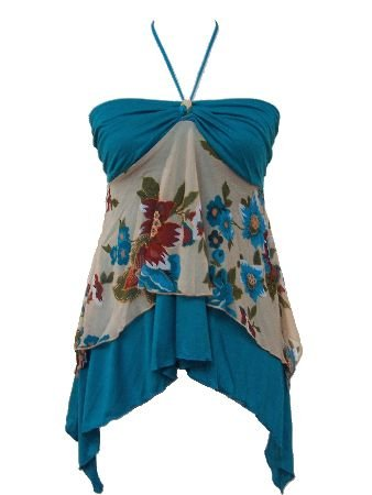 Blue Chiffon Solid Floral Print Layered Halter Top Medium