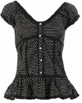 Black Polka Dot Cap Sleeve Top Small