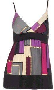 Purple Gray Multicolor Tie Back Top Medium