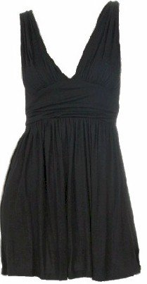 Black Rouched V-Neck Sleeveless Top Small
