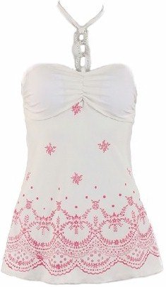 Ivory Pink Print Bottom Halter Top Medium