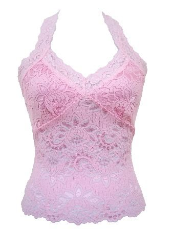 Classic Pink Lace Halter Top Large