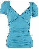 Blue Empire Neck Cap Sleeves Top Large