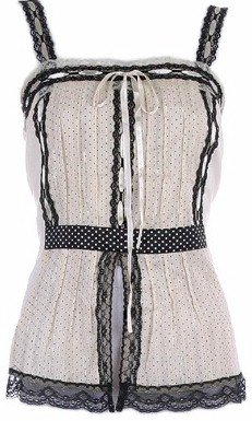 Beige Black BabyDoll Polka Dot Tie Back Top Small