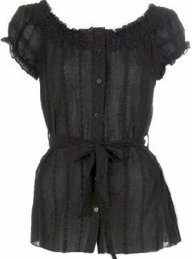 Black Short Sleeves Peasant Top Small