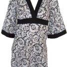 Black Print Kimono Long Tie Back Top Medium