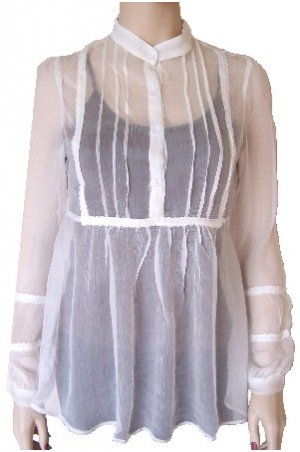 White Silk Sheer Long Button Top Large