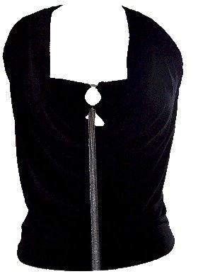 Draped Black Ring Accessory Halter Top Blouse Large
